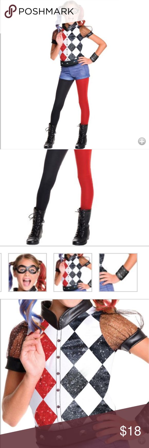 Harley Quinn kids Costume In used condition; my daughter lost the hair extensions: 1 red, 1 blue. They can find extra at the costume store for cheap. Fits up to a size 6/ 6x Costumes Halloween