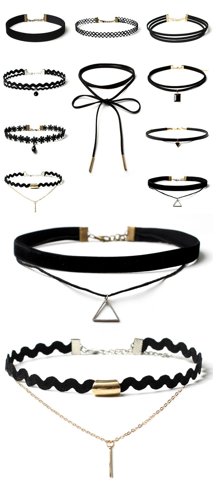 Here We have Gathered Our Favorite Choker Necklaces Into One Sexy 10 Piece Collection.  If you are looking for a really great deal, like literally ten chokers for the price of one, this is definitely for you! Don't forget to use code PIN20 at checkout to save an extra 20% off our already low price of $14.95 with Free Shipping.
