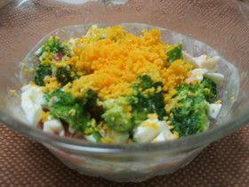 broccoli salad お花みたい!!ブロッコリーでミモザサラダ (broccoli, ham, crab sticks, cheese)