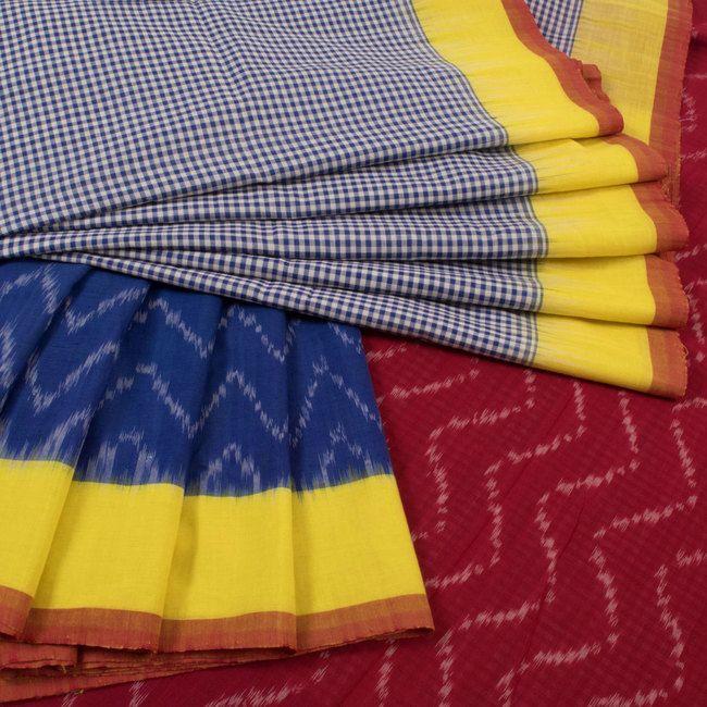 Handwoven Blue Ikat Cotton Saree With Checks & Zig Zag Design Pallu 10018093 - AVISHYA.COM
