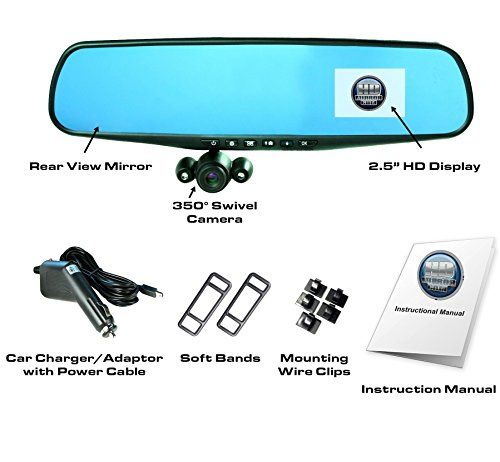 """Official HD Mirror Cam - As Seen on TV Dash Cam 350°, Motion Detection, 2.5"""" LCD, 720P HD, Dashboard Camera Video Recorder, Built-In Rechargeable Battery, Loop Recording, Night-mode - Record It ALL! Turn your rear-view mirror into a dashcam instantly with the HD Mirror Cam! The 720p High Definition camera rotates up to 350° with 120° FOV( Field of View) wide angle lens, comes with a rechargeable battery, and can record 720p high definition video and audio up to 14hrs non-stop ..."""