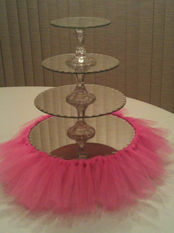 My cupcake stand. I made for my daughter's 1st bday party!Mirrors are from Hobby Lobby, stands from dollar tree.