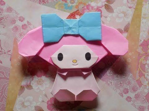 キャラクター折り紙 My Melodyの耳の簡単な折り方作り方と組み立て方 - YouTube
