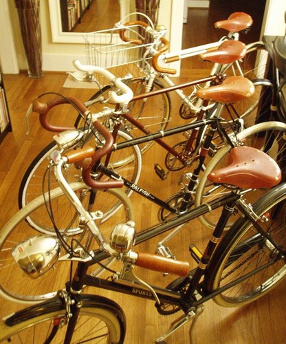 The Bike Gang II by Mark Allen G Garzon, via Flickr  From front to back 1969 Raleigh Sports//1980 Raleigh Competition GS/1976 Raleigh Sprite Single speed/1977 Raleigh Grand Prix Velo Porteur
