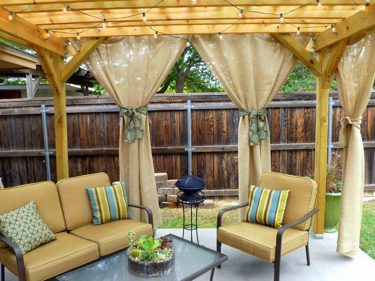 patioIdeas, Pergolas, Outdoor Living, Back Yards, Sweets Teas, Burlap Curtains, Outdoor Spaces, Outdoor Curtains, Backyards