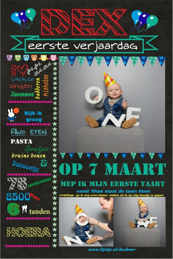 Uitnodiging  1e verjaardag
