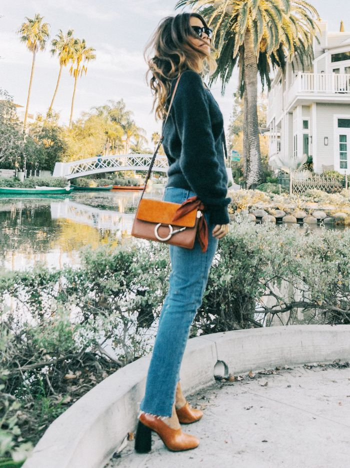 How to Find the Perfect Pair of Winter Jeans: Collage Vintage wears Chloe Faye Bag and Ripped Hem Jeans