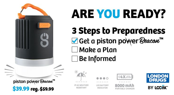 Piston Power Beacon — Are you ready? #ShakeOut #earthquake #BC #techsolutions #LOGiiX @londondrugs #LondonDrugs #sale