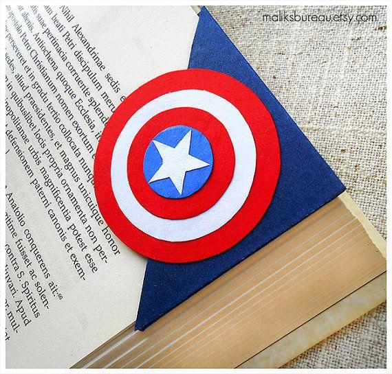 Segnalibro di angolo di Capitan America di maliksbureau su Etsy