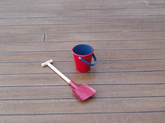 Red Beach Bucket and Spade Sand Pail and by TinytownMiniatures