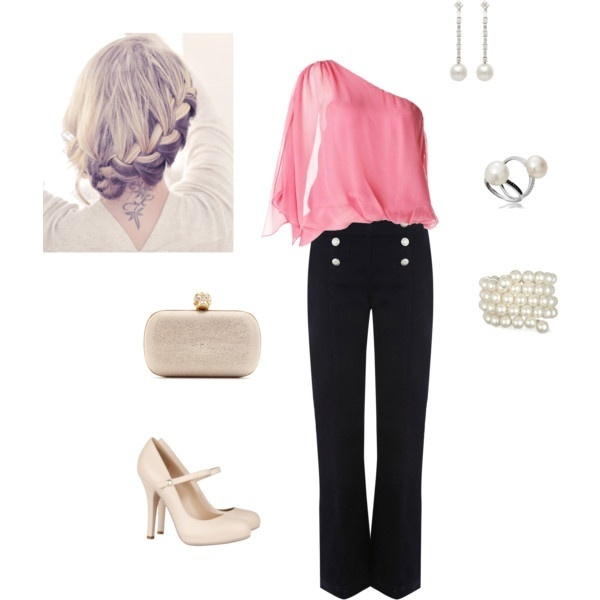 Polyvore #6 polyvore: Shoes, Pink Pearls, Cute Tops, Dreams Closet, Sailors Pants, Girls Night, Pink Tops, Pink Black, Date Night Outfits
