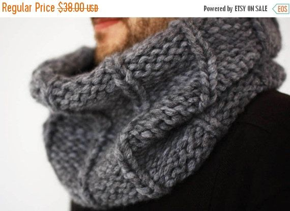 30%off Mens Knit Scarf Chunky Cowl Snood Mens clothes by creaspir