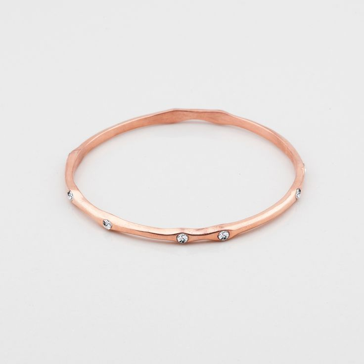 Wild Heart Collection (B1267) - Petite rose gold bangle embellished with classic Swarovski crystals