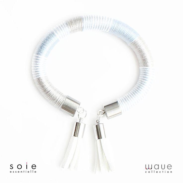 Soi essentielle jewellry #soiessentielle #wavecollection #blue #grey #silver #white #bracelet #silk #yarn