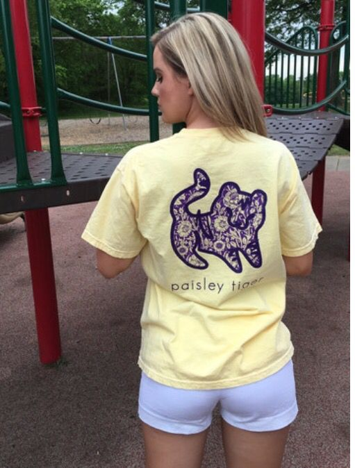 Paisley Tiger. Butter Short Sleeve Pocket. $26.99.  Help save the Tigers.