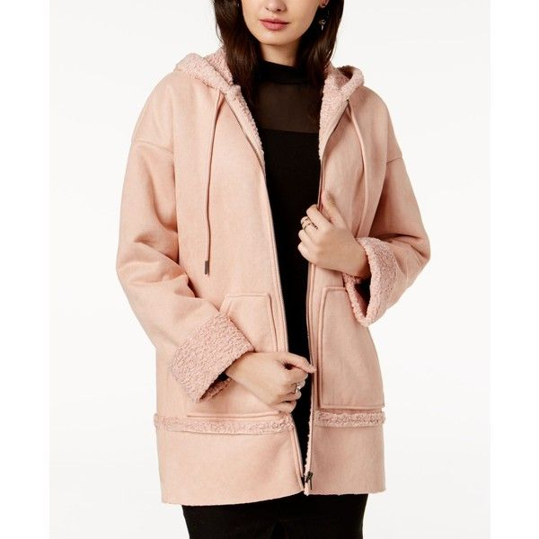 Guess Yesmin Faux-Fur-Lined Hooded Coat ($158) ❤ liked on Polyvore featuring outerwear, coats, cameo rose multi, faux fur lining coat, rose coat, rose pink coat, faux fur lined coat and pink coat