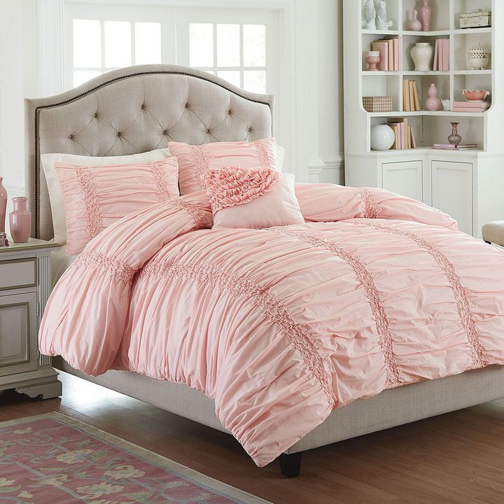 Simply gorgeous light pink MaryJane's Home Cotton Clouds Comforter Set gives any bedroom a feminine feel as well as a sense of romance and opulence thanks to the ruching & ruffle detailing.