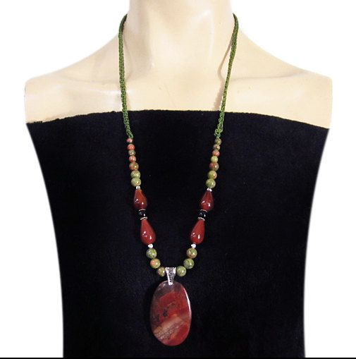 Red Natural Multi-Color PICASSO JASPER Pendant and Beads Gemstones Hand-crocheted Adjustable Length Necklace by Ameogem on Etsy