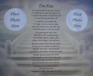 MEMORIAL POEM DONT GRIEVE FOR ME IM FREE GIFT LOSS OF LOVED ONE