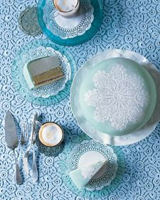 My Norwegian cousin wanted a cake with marzipan or almond paste in the recipe. I stumbled on this cake which is beautiful in all its simplicty!        (The surface of this cake is imprinted with a lacy doily pattern; any 8-inch doily will work. From martha Stewart)