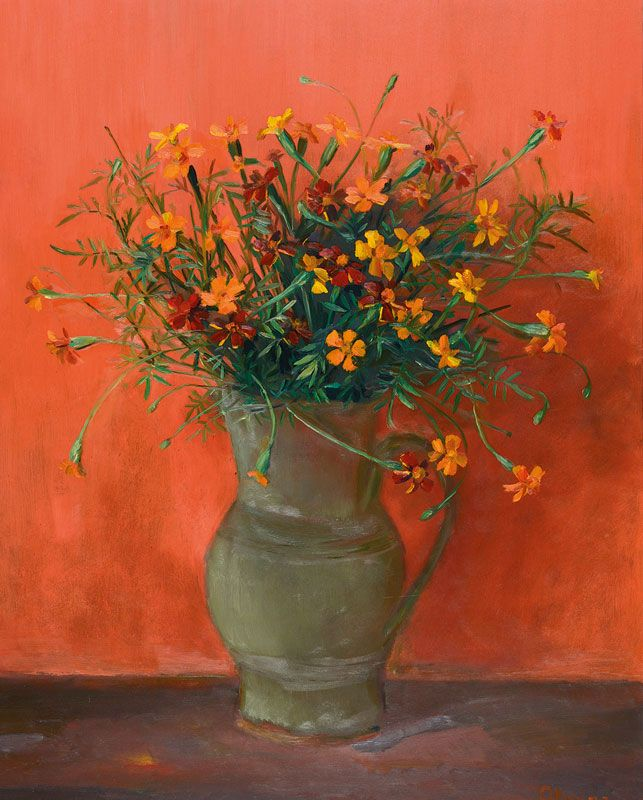 "Margaret Olley | Marigolds 1973. oil on board, 74.5 x 59.5 cm. Margaret Olley has held more than sixty solo exhibitions during her career, her first show in Sydney in 1948. She has been the recipient of numerous awards and prizes including the Mosman Art Prize in 1947 and the Helena Rubinstein Portrait Prize in 1962. In 1997 a major retrospective of Margaret Olley's work was organised by the Art Gallery of New South Wales, the same year she was declared an ""Australian National Treasure""."
