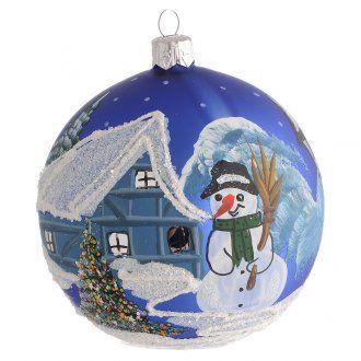 Tannenbaum Kugel Landschaft mit Schnee blau 100mm | Online Verfauf auf HOLYART