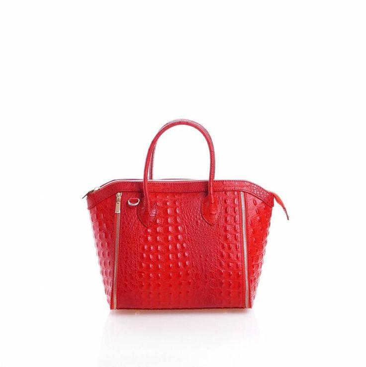 - Leder handtas met kokosnoot print in rood kleur