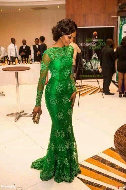This Emerald dress on her chocolate  skin!!......beautiful