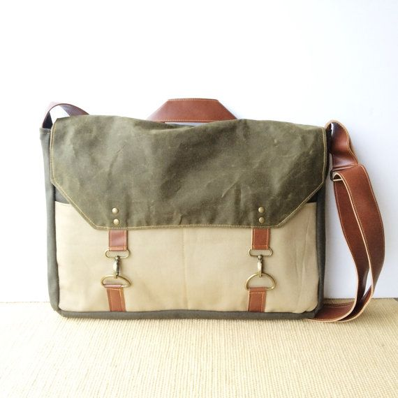 boss bag • crossbody messenger bag - laptop bag - mens bag • olive green waxed canvas - khaki canvas - olive industrial canvas • scout