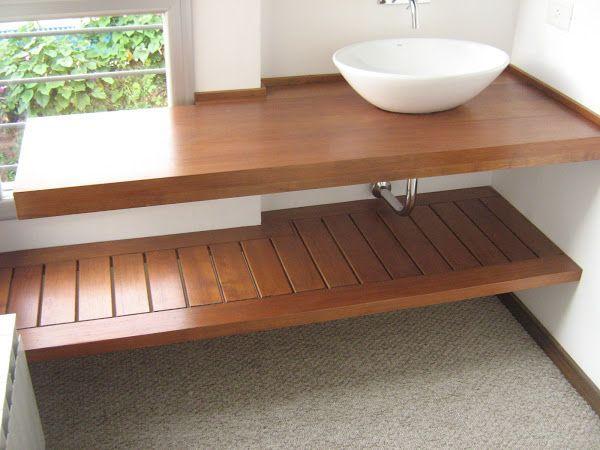 mesada baño madera - Buscar con Google