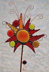 Garden Stake Red Hot Fireworks by Artist Dianne McGhee