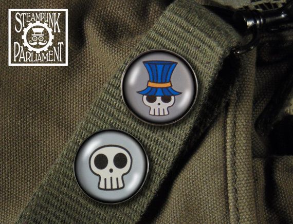 Deadhead Skull in a Tophat Pin Duo  Set of by SteampunkParliament