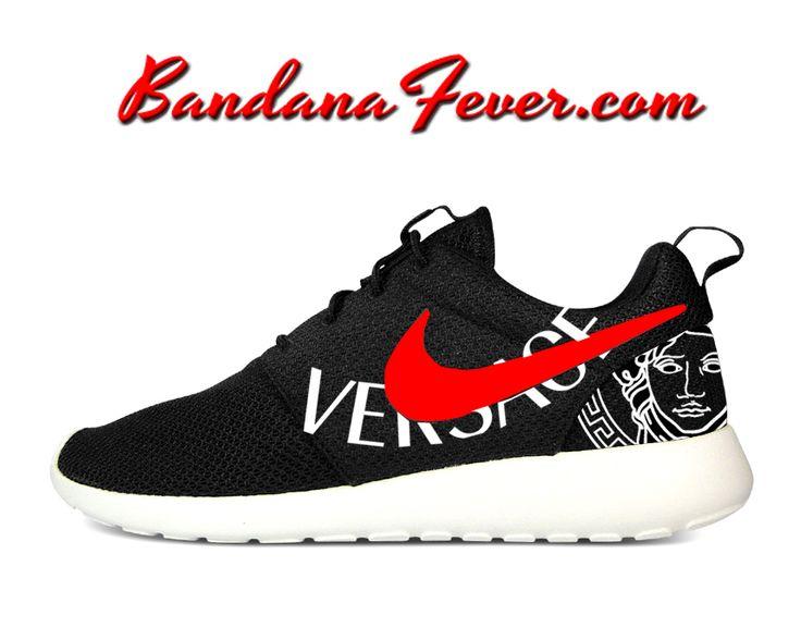 Custom Versace Nike Roshe Run Shoes Black, #fashion, #dope, by Bandana