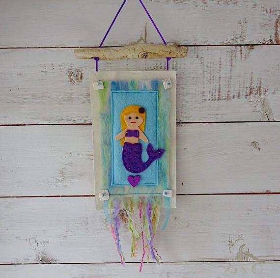 Mermaid, girl's bedroom, little mermaid wall hanging, purple mermaid, nursery art, mermaid decoration, mermaid wall decor, mermaid gift