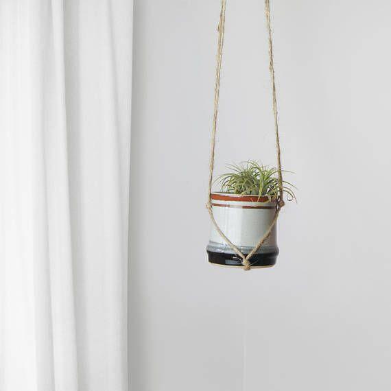 Vintage plant pot and jute twine hanger, 1980s hanging planter