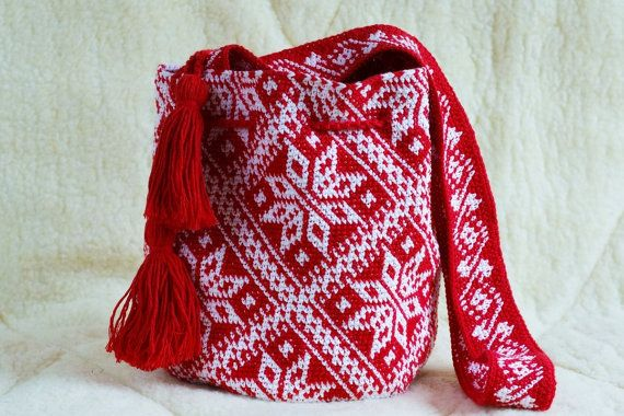 Crocheted Large wayuu mochila bag native crossbody wayuu tecnique tapestry…