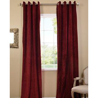 Burgundy Grommet Velvet Blackout Curtain Panel
