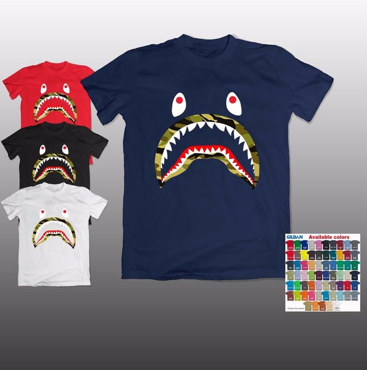 NEW Aape Bape Cotton Tee A Bathing Ape Shark Jaw Head T SHIRT S-3XL #Gildan…
