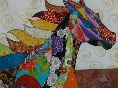 Horse quilt - scroll down and look at the whole piece. This girl does some Amazing horse quilts!