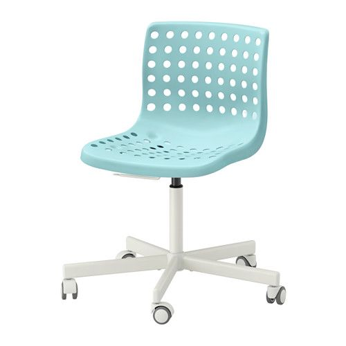 IKEA - SKÅLBERG / SPORREN, Swivel chair, light turquoise/white, -, , Your back gets support and extra relief from the built-in lumbar support.You sit comfortably since the chair is adjustable in height.The casters are rubber coated to run smoothly on any type of floor.The casters are locked when no one is sitting in the chair, which keeps it from rolling away when you sit down or stand up.Easy to keep clean by just wiping with a damp cloth.