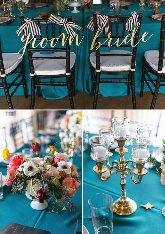 Superior Teal And Gold Modern Wedding