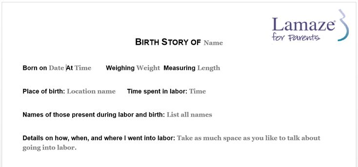 Lamaze for Parents : Blogs : Fill-in-the-Blank Birth Story Template
