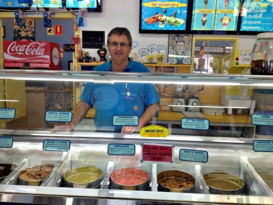 Wayne from Mildura Ice Creamery is really excited by the new Peanut Butter flavour he has in store. He now stocks over 40 flavours including gelati.