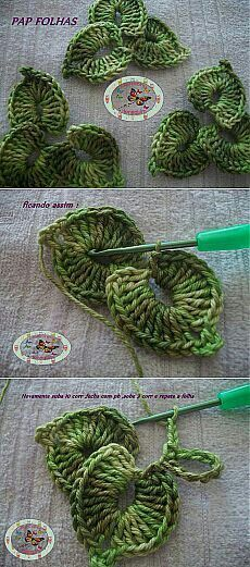 Pretty three-leaf crochet pattern. Could also be layered up to make pretty flowers.