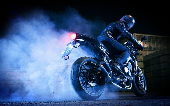 Download imagens A Yamaha XS850, 4k, 2017 motos, fumo, piloto, japonês motocicletas, Yamaha