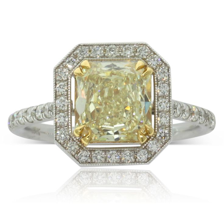18ct white gold 1.58ct yellow diamond halo ring, a magnificent dress ring or breathtaking engagement ring.