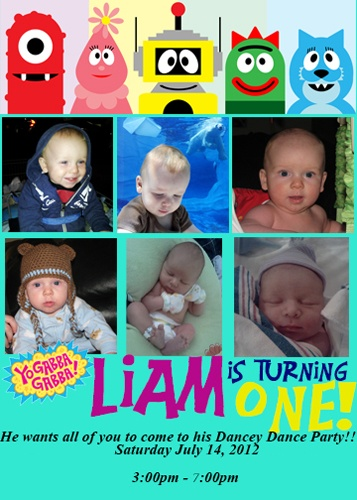 What a cutie Liam is! His parents made a great invitation for his Yo Gabba Gabba birthday party!