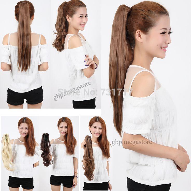 "Harga murah Sale Lady Bergaya Besar Cakar Ekor Kuda Panjang 18 ""Curly Pony Tail Hair Extension"