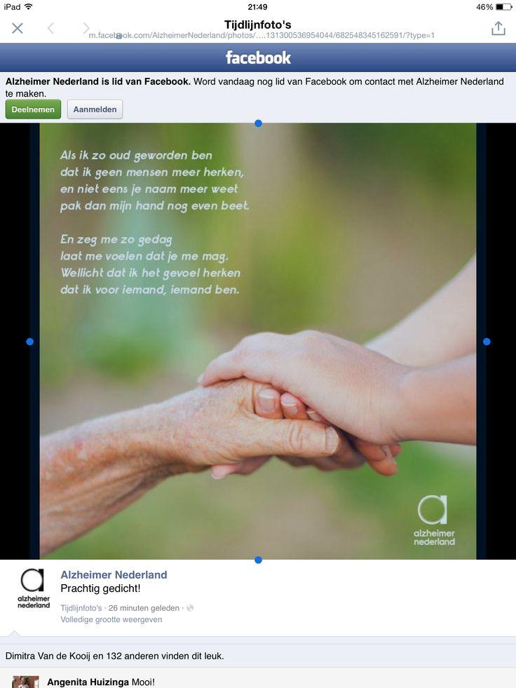 Mooi gedicht van Alzheimer Nederland