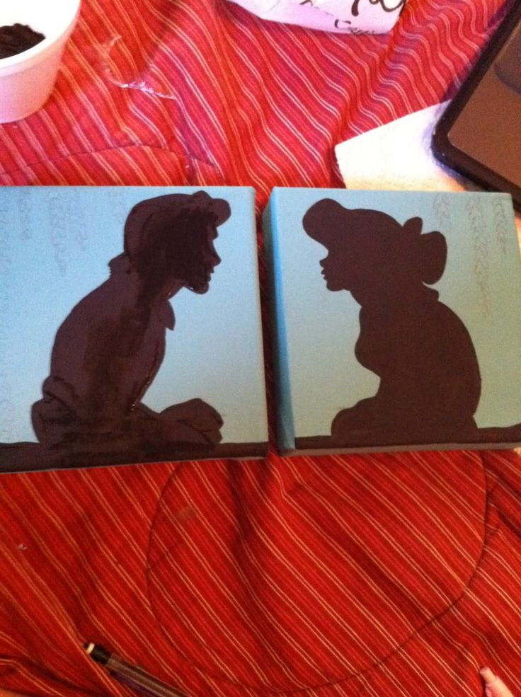 Disney silhouette paintings - Craft Forum so easy, daughter will love these